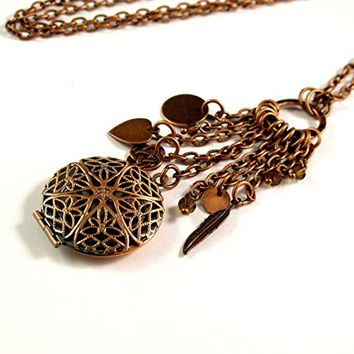 Aromatherapy Oil Diffuser Necklace - Beautiful Filigree Locket in Antique Copper with Charms and Crystals