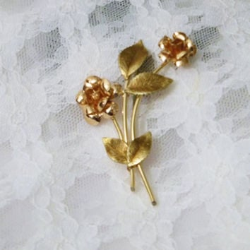 SALE- Gold Filled, Krementz  Brooch, Pin, Gold Overlay, Gold Fill,  Bouquet, Gift for Her, Birthday, Anniversary, Flowers, Roses, Hallmarked