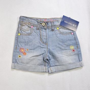 SHUZHI summer style fashion Grils Denim shorts Baby flower demin shorts for kids girls children shorts kids jeans 2-10Y