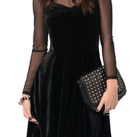 Black Chic Mesh Long Sleeve Velvet Dress