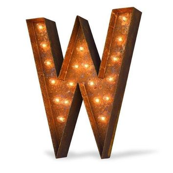 "36"" Letter W Lighted Vintage Marquee Letters (Modern Font/Rustic)"
