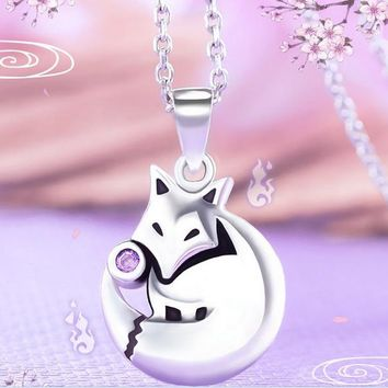 Anime Kamisama Love Kamisama Kiss Fox Pendant Necklace 925 Silver Sterling in gift box Free Shipping