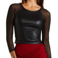 Mesh & Faux Leather Crop Top by Charlotte Russe - Black