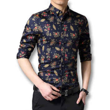 Chemise Homme Men's Casual Slim Fit Large Size Long Sleeved Floral Shirts Camisa Masculina Shirts Hombre BL