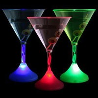 Flashing LED Martini Glasses Set