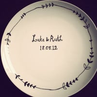 Wedding plate hand drawn by Mr Teacup by MrTeacup on Etsy