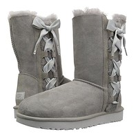 UGG Newest Popular Women Side Bowknot Bandage Leather Shoes Boots Winter In Tube Boots Shoes Grey