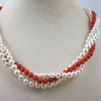14K Red Coral Bead Pearl Necklace, Three Strand Knotted Cultured Pearl Red Coral Torsade Choker, Mediterranean Coral Cultured Pearl Jewelry