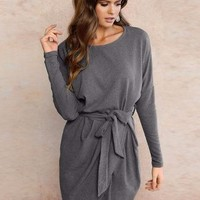 Loose Wrap Autumn Dress  - Stone