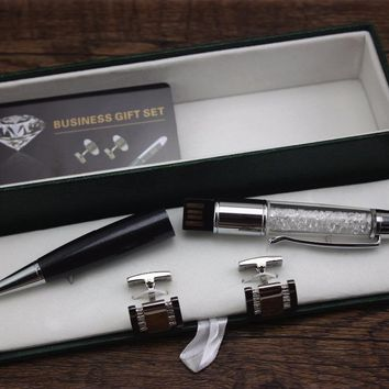 1 PCS Fashion Diamond Ballpoint Pens Stationery luxury Crystal 8 gb usb Pen Business Men Cufflinks Gifts Box set