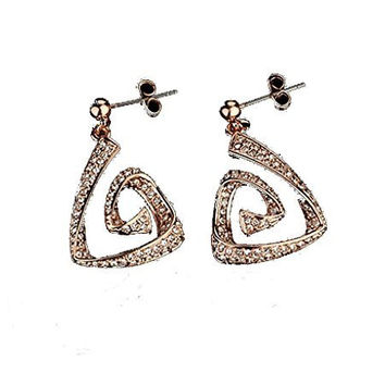 Italina Rigant Women's Rose Gold Plated Rhinestone Spiral Triangle Dangle Earrings