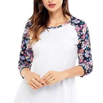 Womens Floral Print Raglan Sleeve White Top