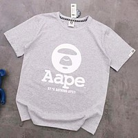 Bape Aape Summer Fashion New Bust And Back Letter Print Women Men Top T-Shirt Gray