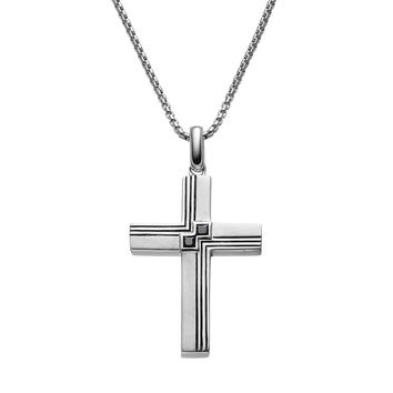 SilveRado™ for Mens 1/4 Carat T.W. Black Diamond Sterling Silver Textured Cross Pendant Necklace for Men