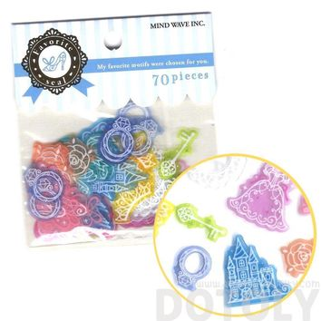 Cinderella Princess Themed Translucent Sticker Flake Seals From Japan | 70 Pieces