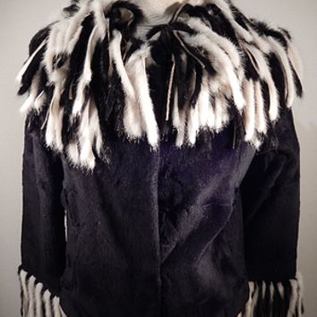 Charm Furs Black Rex , Rabbit , Mink Tassle Fur Coat