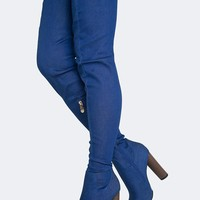Stretchy Denim Thigh High Boots