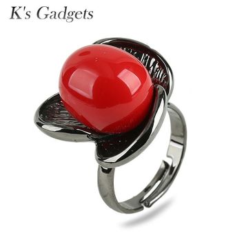 K'S Gadgets  Big Rings For Women Red Simulated Coral And White Shell Pearl Black Gold color Flowers Open Ring