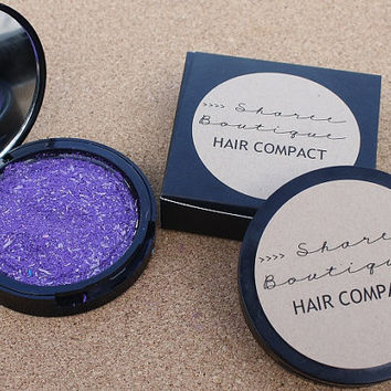 NEW - Hair Compact - Purple Galaxy // Dark Purple with Lavender Flakes - Hair Chalk Alternative