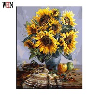 Sunflower Oli Painting Coloring by Numbers On Canvas DIY Hand Painted Cuadros Decoracion Cheap Oil Painting
