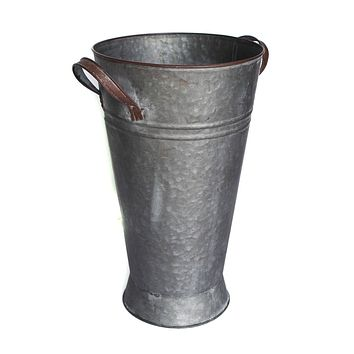 "Grey French Galvanized Metal Floral Bucket - 13.75"" Tall x 8.25"" Wide"