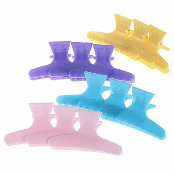 Hair Claw Salon Styling Tools Plastic Colorful Hair Clips Hairdressing Tool Butterfly 12Pcs Section Clip Clamps