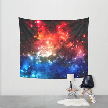 Wall decor tapestry - Colorful nebula, blue and red galaxy, oil paint, beautiful space themed tapestry, 3 sizes available, indoor / outdoor