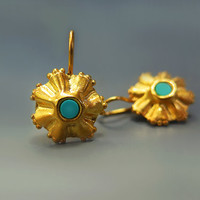 Turquoise dangle earrings, Gold flower earrings, December Birthstone, 24K Gold Dangle Earrings, Handmade Jewelry, Unique Gifts For Women