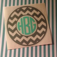 Personalized Vinyl Chevron Monogram Custom Car Laptop Tablet Phone Decal MULTIPLE SIZES