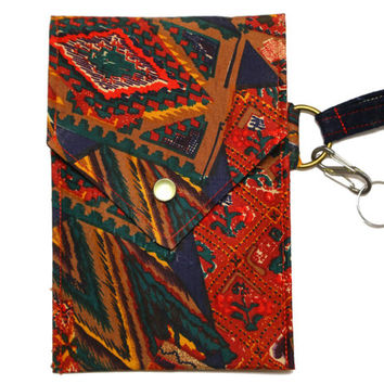 Cell Phone Wallet - Silk Red Purse - Iphone Wallet