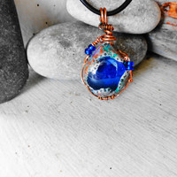 Blue Necklace, Blue Cabochon Necklace, Clay Pendant, Handmade Jewelry, Customize my own, One-of-a-kind, Inspirational Jewelry, Ready to ship