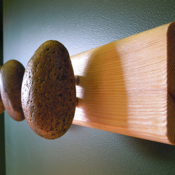 Hook hanger Coat Rack with natural Sea STONES Hardwood Handcrafted Unique gift. Wall mounted solid wood coat rack with natural Sea Stones