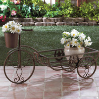 Rustic Western Lone Star Tricycle  Cart Planter Plant Stand