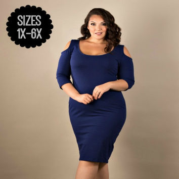 Plus Extended Size Cold Shoulder Body-Con Dress