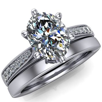 Shayla Oval Moissanite 6 Prong Diamond Channel Engagement Ring