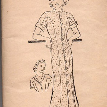 Rare Superior Sewing Pattern 1930s WWII Button Front Casual House Dress Fit & Flare Uncut FF Like New Bust 32 to 36