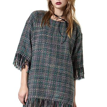 Olivia Frayed Tweed Dress-Green