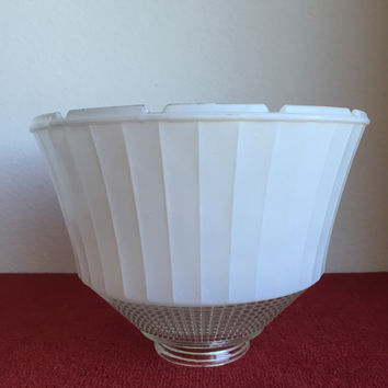 National Home Lamp Council Torchiere Lamp Shade no. 954 white opaque and clear glass waffle weave