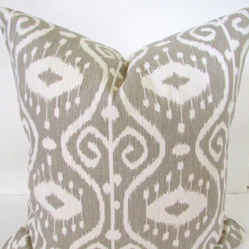 THROW PILLOW Covers Taupe Gray Ikat 16x16 Decorative Throw Pillows Designer Tan Striped Pillows home and living home decor