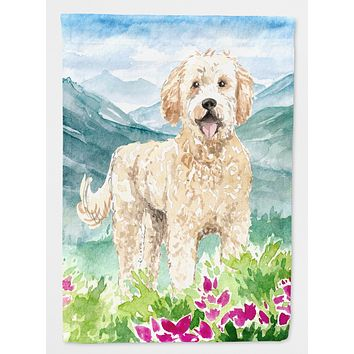Mountain Flowers Goldendoodle Flag Canvas House Size CK2537CHF