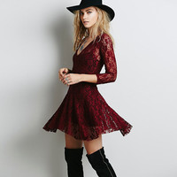V-Neck Crochet Lace Three Quarter Length Sleeve Skater Dress