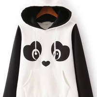 White Hooded Long Sleeve Panda Print Sweatshirt - Sheinside.com