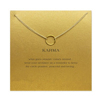 Karma Double Chain w/Circle Gold Plated Clavicle Pendant Necklace