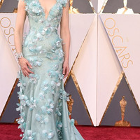 2016 Oscar 88th Academy Awards Elegant A-line V Neck Appliques Flowers Mint Green Celebrity Dresses Red Carpet Dress CA-03