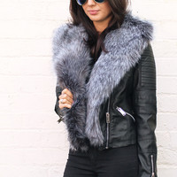 Faux Fur Trimmed Leather Look Biker Jacket with Quilted Panels in Black with Grey Fur