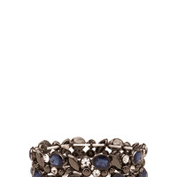 FOREVER 21 Faux Stone Stretch Bracelet Gunmetal/Blue One