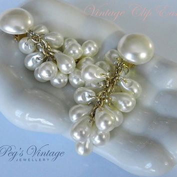 Vintage Cluster Tear Drop Faux Pearl Earrings, Dangle Grape Cluster Clip On Earrings, Bridal Jewelry