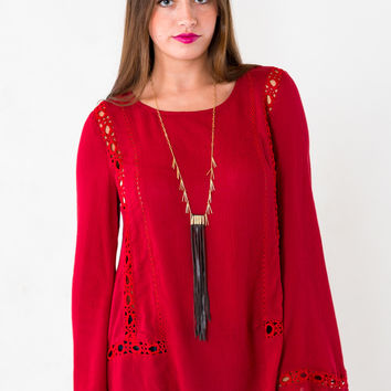 Ring Around The Rosie Top in Burgundy
