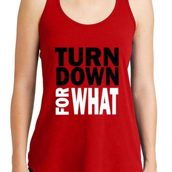 Women's Turn Down For What Graphic New Era Heritage Blend Racerback Tank Tops for Regular and Plus - XS ~ 4XL
