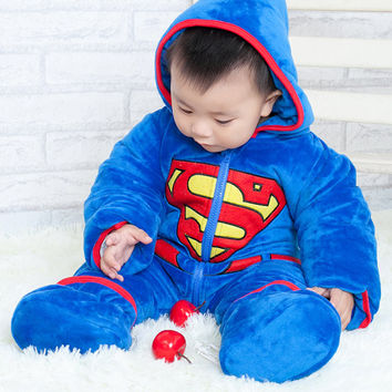 Personalized Superman BABY Kigurumi Onesuit AND Leg Covers - Children's Clothing, Baby Boy or Girl, 1st Birthday,Baby Toddler